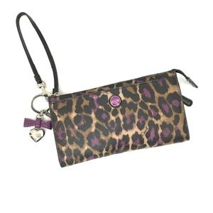 Coach Purple Cheetah Leopard Print Wristlet